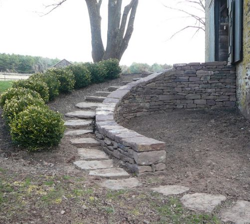 Low stone wall and path